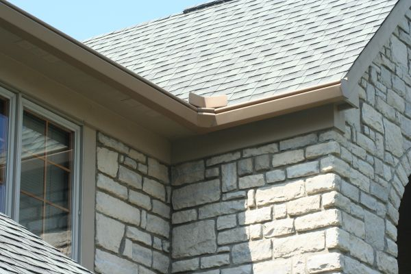 Gutters on a stone home